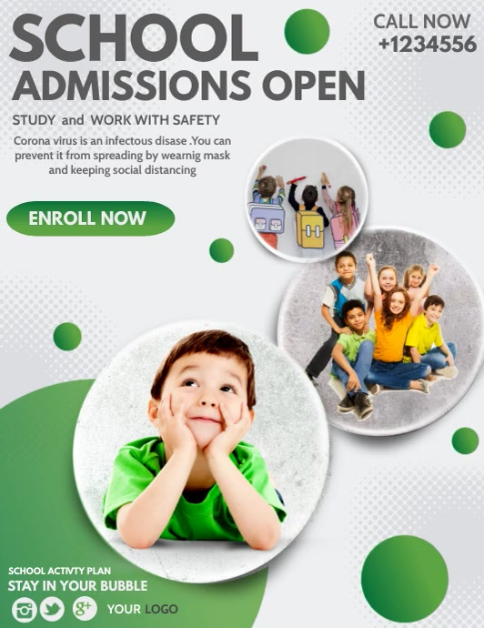 Back to school,School admission,kids camp Pamflet (Letter AS) template