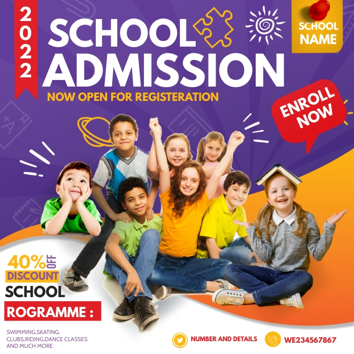 Back to school ,School admission Persegi (1:1) template