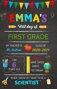 Back to School Chalkboard sign Tablóide template