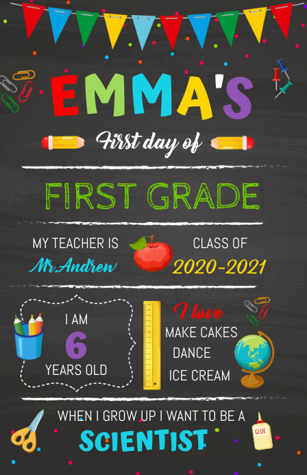 Back to School Chalkboard sign แทบลอยด์ template