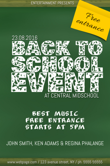 back to school chalkboard simple event party flyer