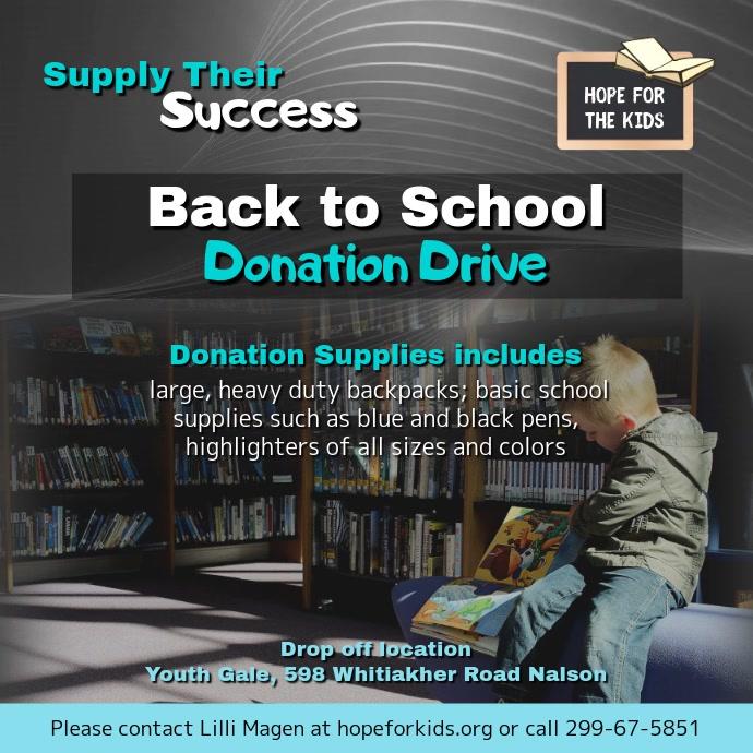 Back to School Donation Drive Instagram Video Persegi (1:1) template