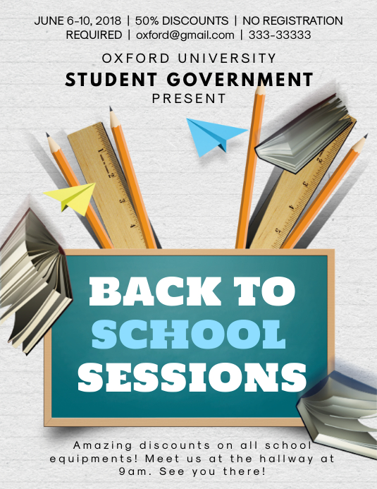 Back to School Drive Flyer Template Pamflet (Letter AS)