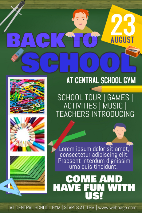 Back To School Event Party Notebook Style Flyer Template  Postermywall