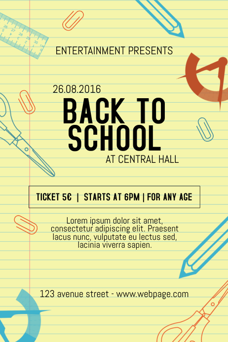 back to school event party notebook style flyer template