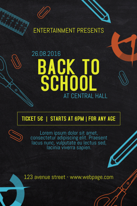 back to school event poster template