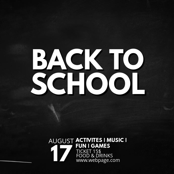 Back to school event video advertising template instagram