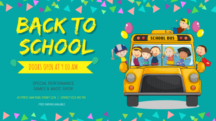 BACK TO SCHOOL FLYER TEMPLATE Tampilan Digital (16:9)