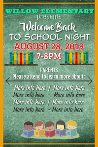 Back to School Night Poster Affiche template