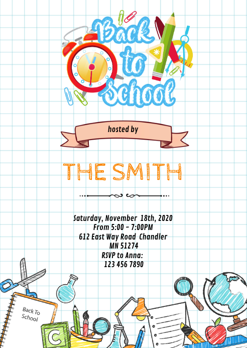 Back to school open house invitation A6 template