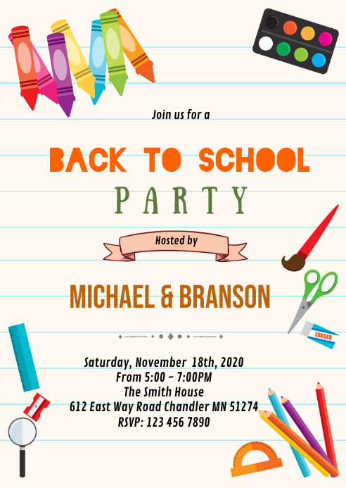 Back to school open house theme invitation A6 template