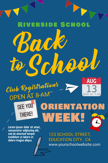 Back to school Orientation Poster template