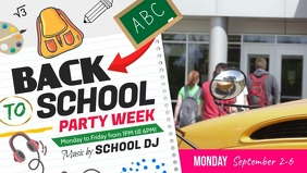 Back to School Party Facebook Cover Video template
