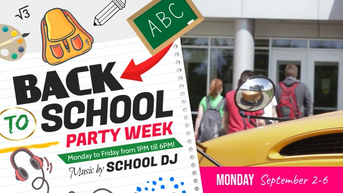 Back to School Party Facebook Cover Video