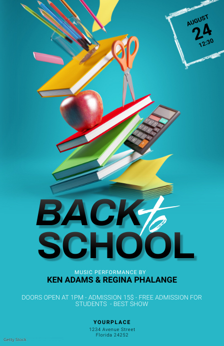 Back to School Party Flyer Template Tabloide