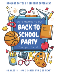 Back to School Party Flyer with Illustrations
