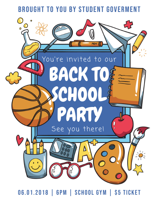 Back to School Party Flyer with Illustrations Pamflet (Letter AS) template