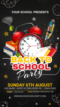 Back to school party Instagram story black template