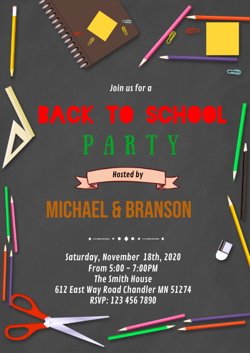 Back to school party invitation A6 template