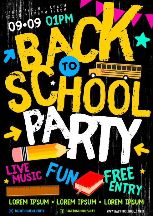 BACK TO SCHOOL PARTY POSTER A4 template