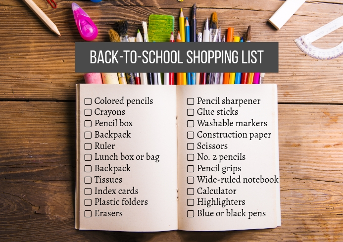 Back To School Printable Shopping List A4 template