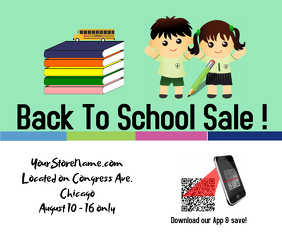 Back to school/ retail/store sale Stort rektangel template
