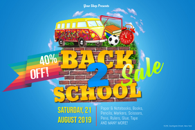 Back To School Sale Landscape Poster Template