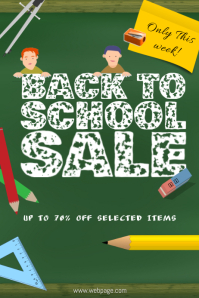 back to school sale retail promotion poster template notepad