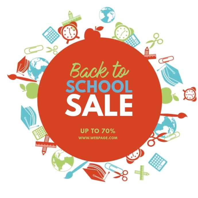 Back to School Sale video ad template Quadrato (1:1)