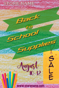 Back to School Supplies Sale Poster template