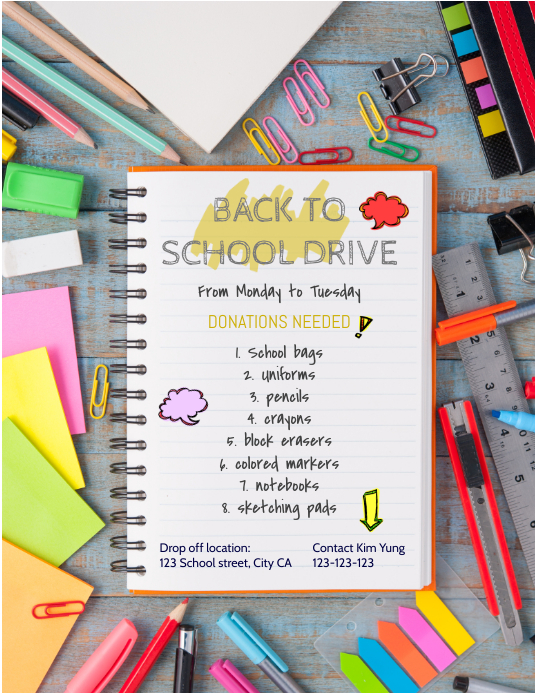 Back to school supply drive Folheto (US Letter) template