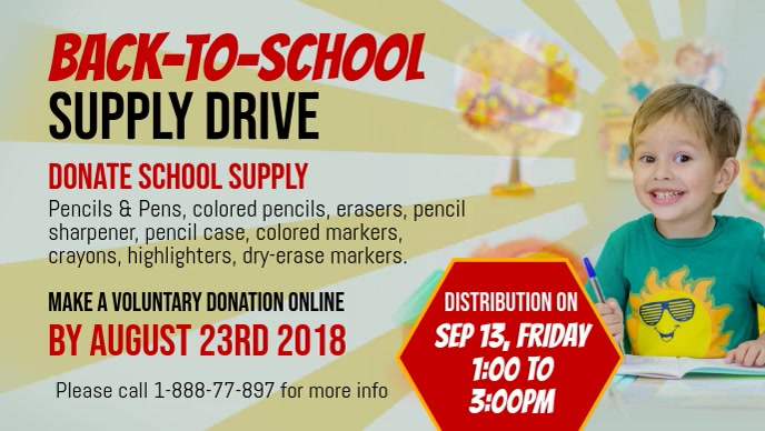 Back to School Supply Drive Facebook Cover Video template