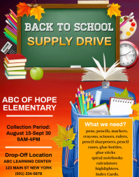 Back to School Supply Drive Flyer Template Poster/Wallboard