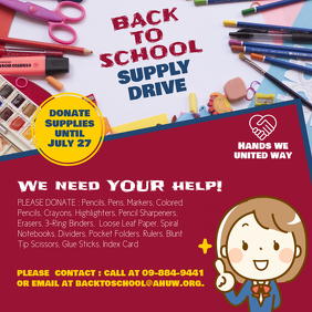 Back to School Supply Drive Instagram Post