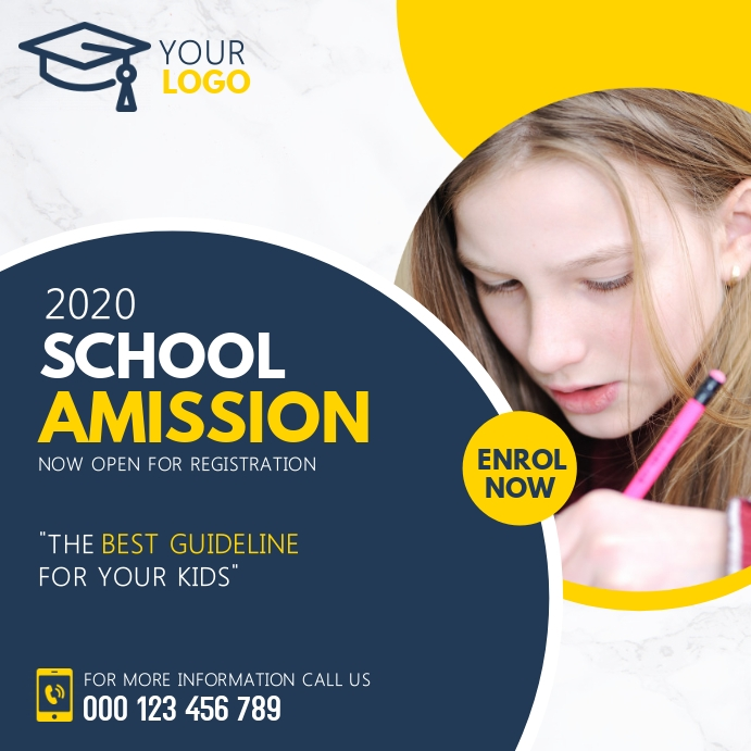 Back to school template, School admission Instagram Post