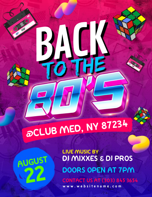 Back To The 80's Flyer Pamflet (VSA Brief) template