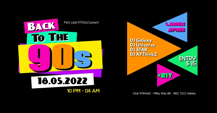 Back to the 90's 90s party oldschool header Anúncio do Facebook template