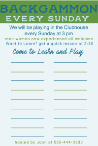 Backgammon Sign-Up Poster template