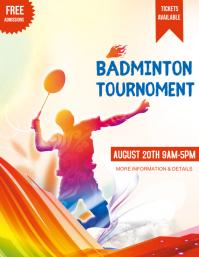 Badminton, badminton tournament,event Flyer (US Letter) template