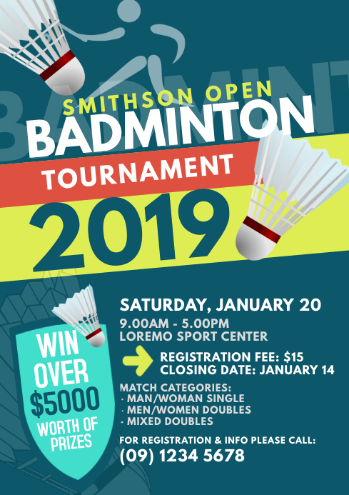 badminton tournament flyer template postermywall