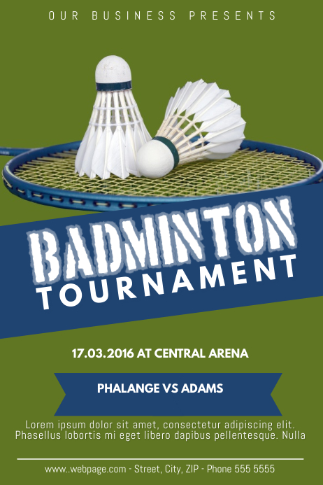Badminton Tournament Flyer Poster Template