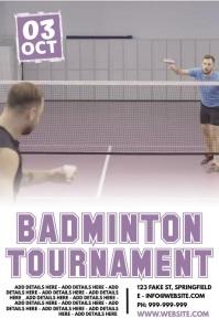 Badminton Tournament Poster Plakat template