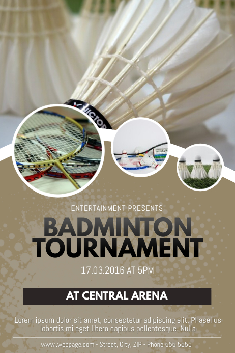 copy of badminton tournament flyer poster template
