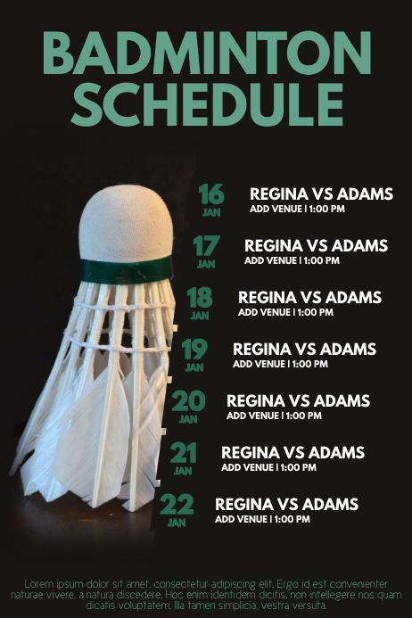 badminton tournament schedule poster flyer template