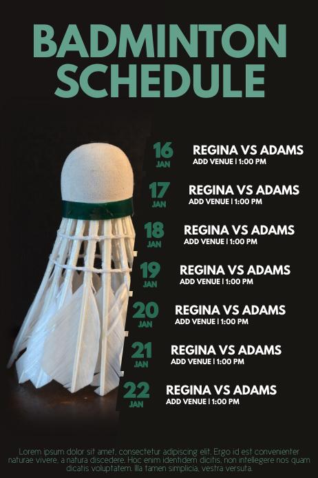 Badminton tournament schedule poster flyer template ...