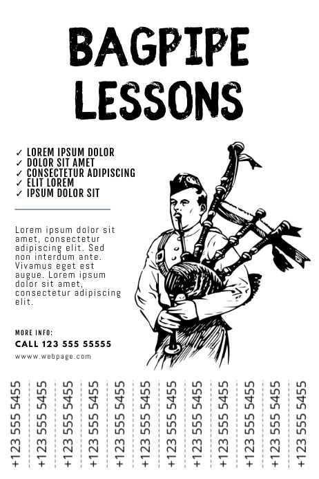 Bagpipe lessons flyer template tear off tabs