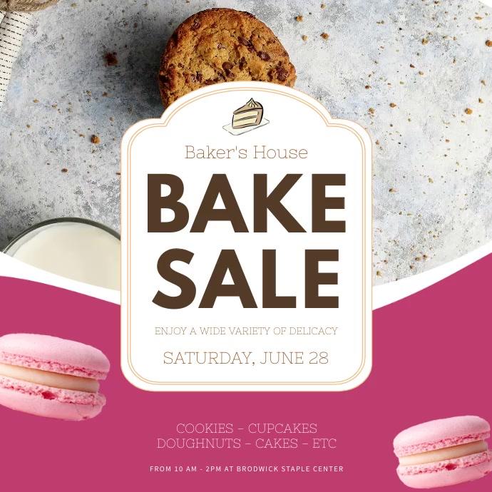 Bake Sale Advertisement Video 方形(1:1) template