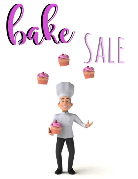 Bake Sale Løbeseddel (US Letter) template