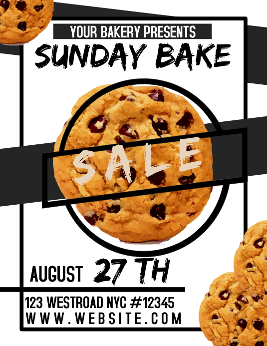 BAKE SALE FLYER FUNDRAISER Løbeseddel (US Letter) template