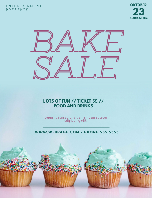 Bake Sale flyer Template 传单(美国信函)